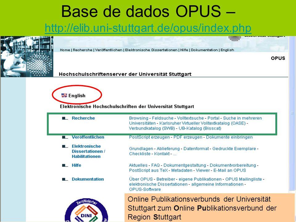 Base de dados OPUS – http://elib.uni-stuttgart.de/opus/index.php