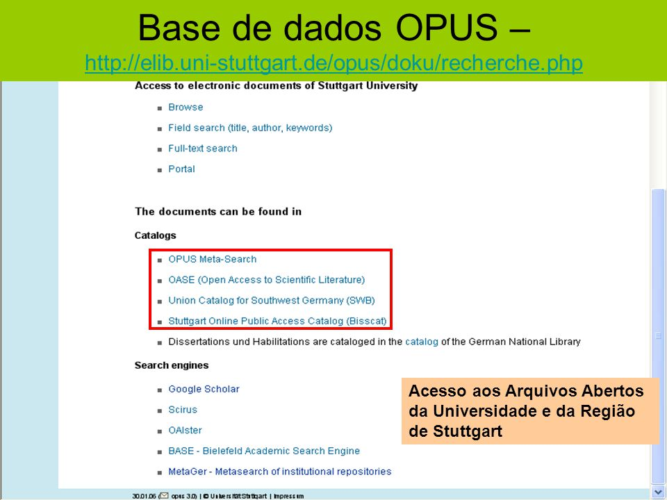 Base de dados OPUS – http://elib.uni-stuttgart.de/opus/doku/recherche.php