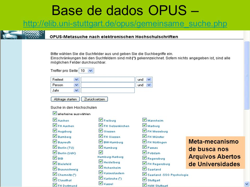 Base de dados OPUS – http://elib. uni-stuttgart