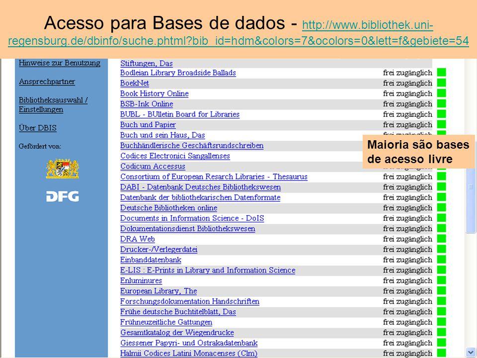 Acesso para Bases de dados - http://www. bibliothek. uni-regensburg