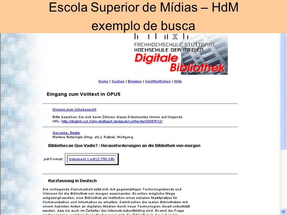 Escola Superior de Mídias – HdM exemplo de busca