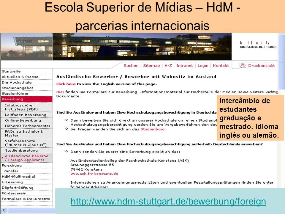 Escola Superior de Mídias – HdM - parcerias internacionais