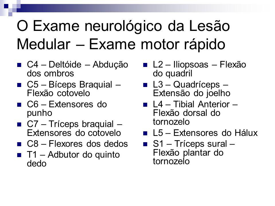 O Exame neurológico da Lesão Medular – Exame motor rápido