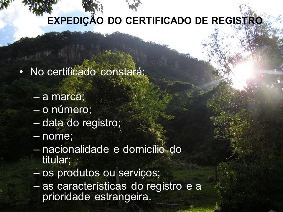 EXPEDIÇÃO DO CERTIFICADO DE REGISTRO