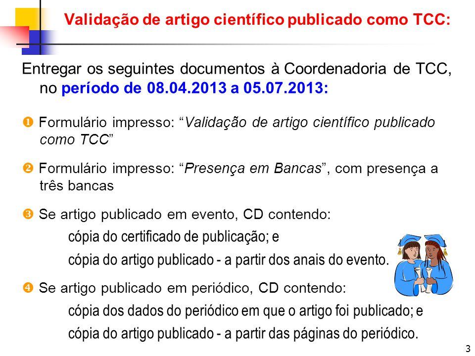 Validação de artigo científico publicado como TCC: