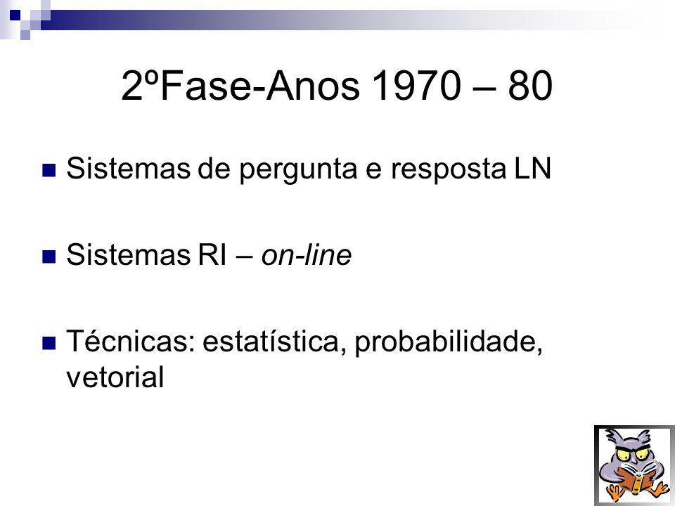 2ºFase-Anos 1970 – 80 Sistemas de pergunta e resposta LN
