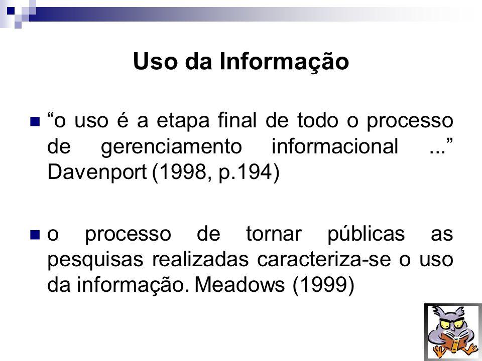 Uso da Informação o uso é a etapa final de todo o processo de gerenciamento informacional ... Davenport (1998, p.194)