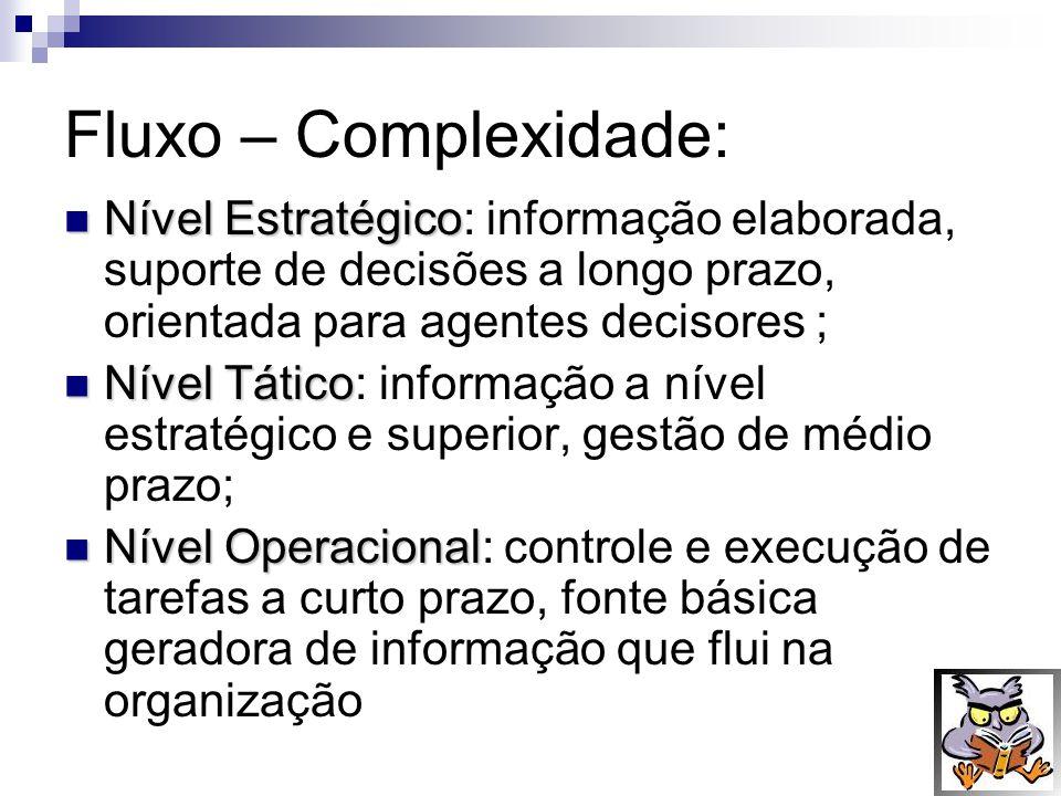 Fluxo – Complexidade: Nível Estratégico: informação elaborada, suporte de decisões a longo prazo, orientada para agentes decisores ;