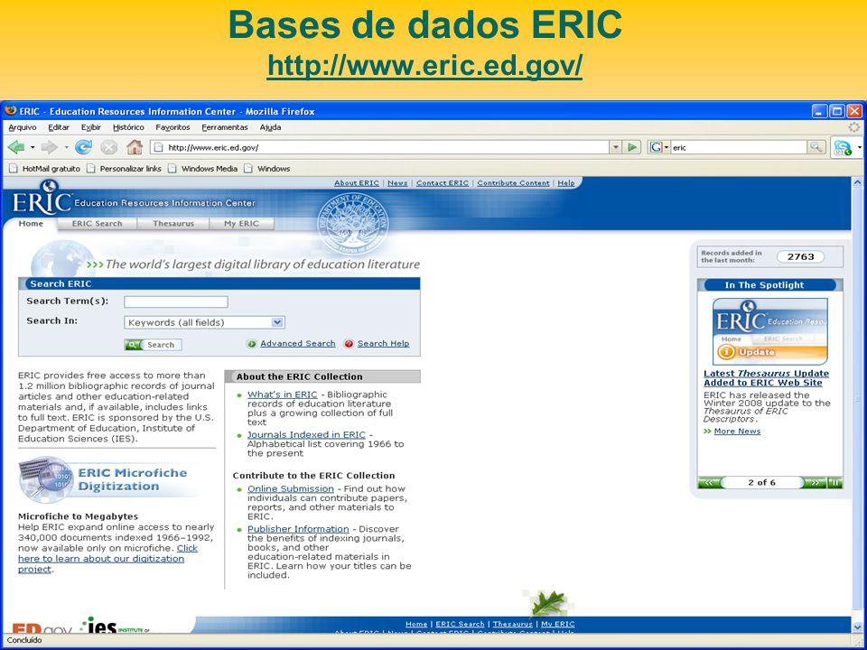 Bases de dados ERIC http://www.eric.ed.gov/
