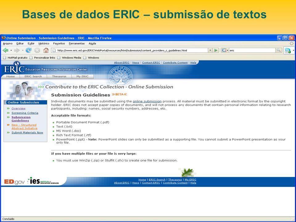 Bases de dados ERIC – submissão de textos