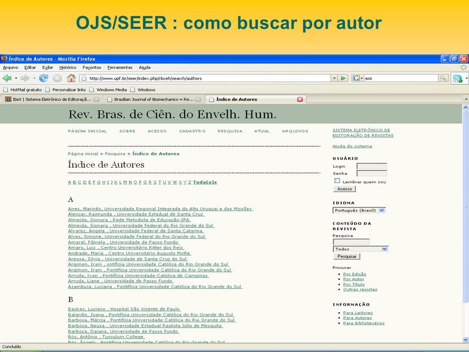 OJS/SEER : como buscar por autor