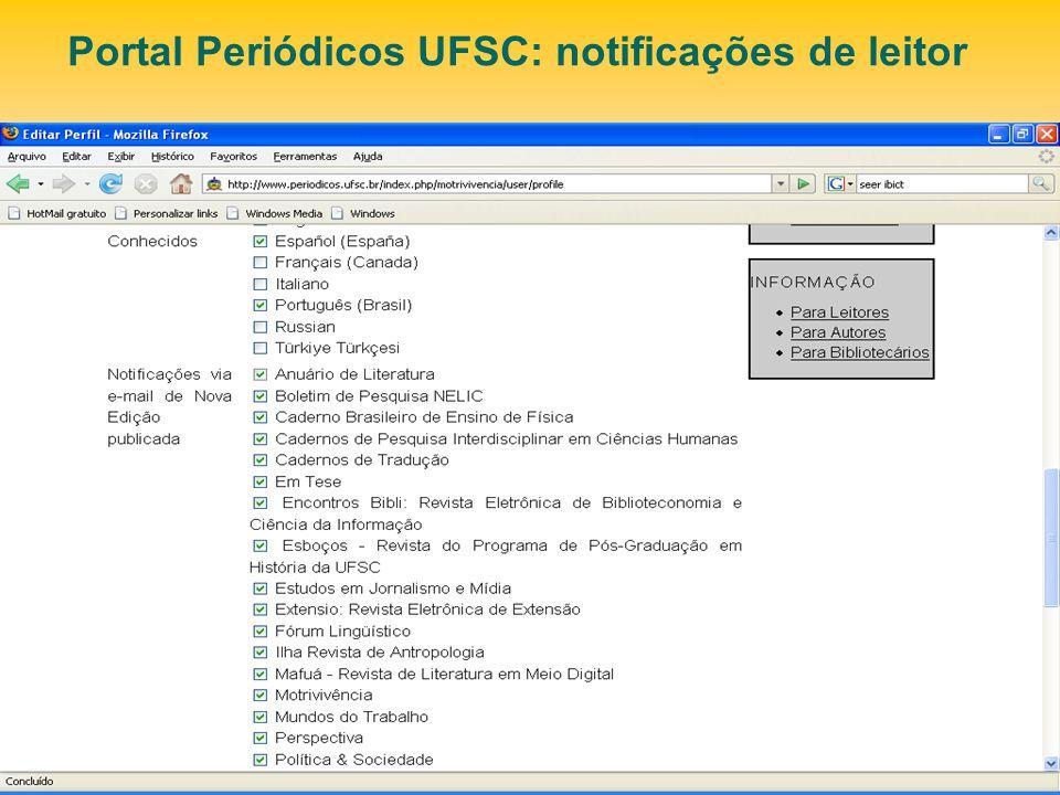 Portal Periódicos UFSC: notificações de leitor