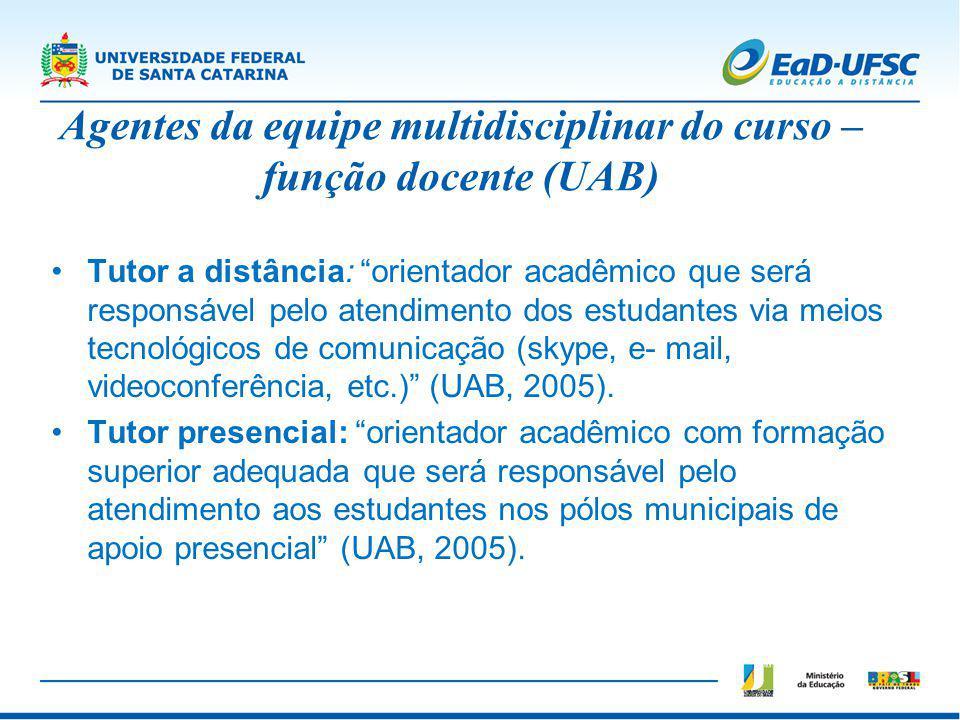 Agentes da equipe multidisciplinar do curso – função docente (UAB)