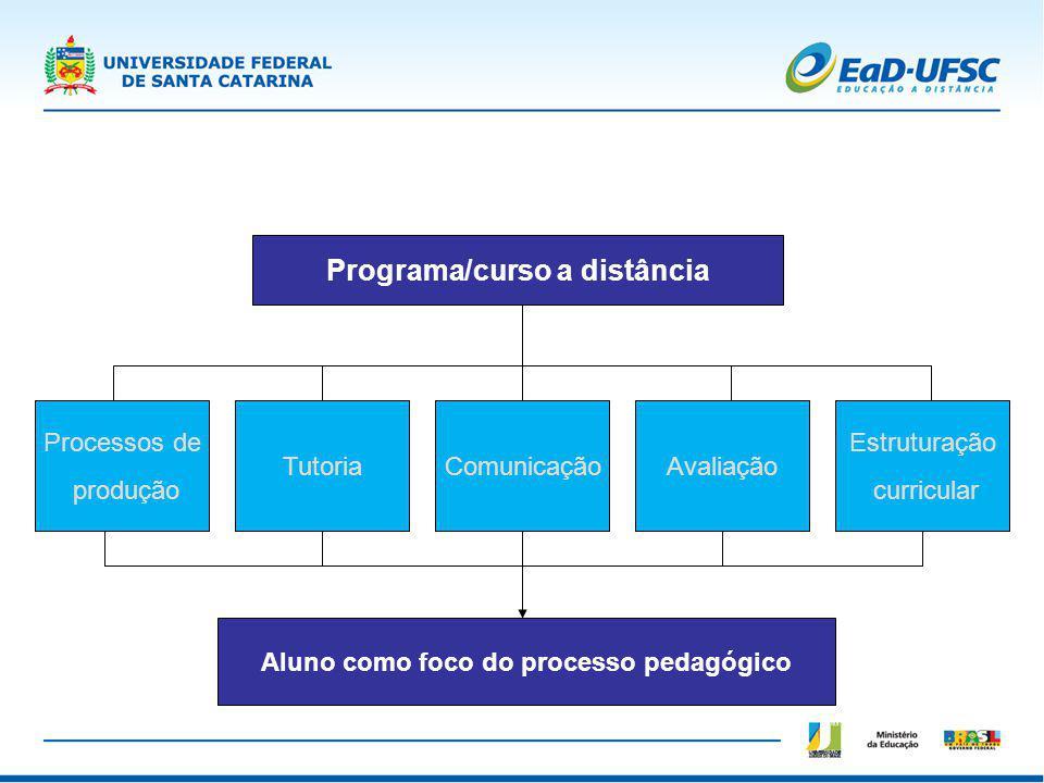 Programa/curso a distância Aluno como foco do processo pedagógico