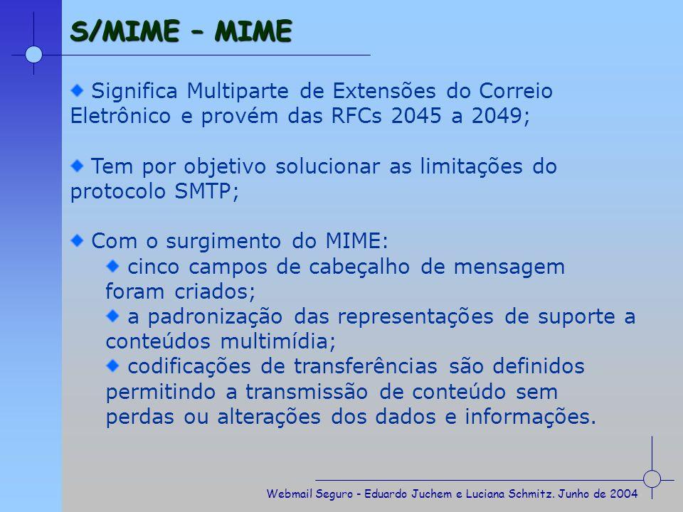 S/MIME – MIME Significa Multiparte de Extensões do Correio Eletrônico e provém das RFCs 2045 a 2049;