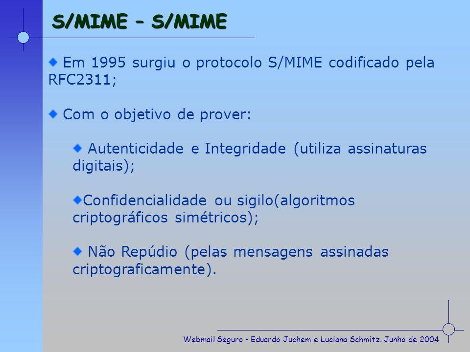 S/MIME – S/MIME Em 1995 surgiu o protocolo S/MIME codificado pela RFC2311; Com o objetivo de prover: