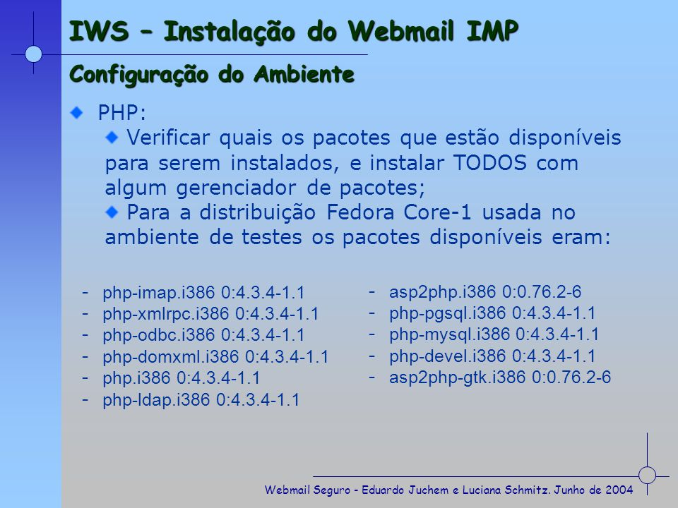 IWS – Instalação do Webmail IMP