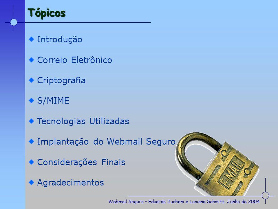 Tópicos Introdução Correio Eletrônico Criptografia S/MIME
