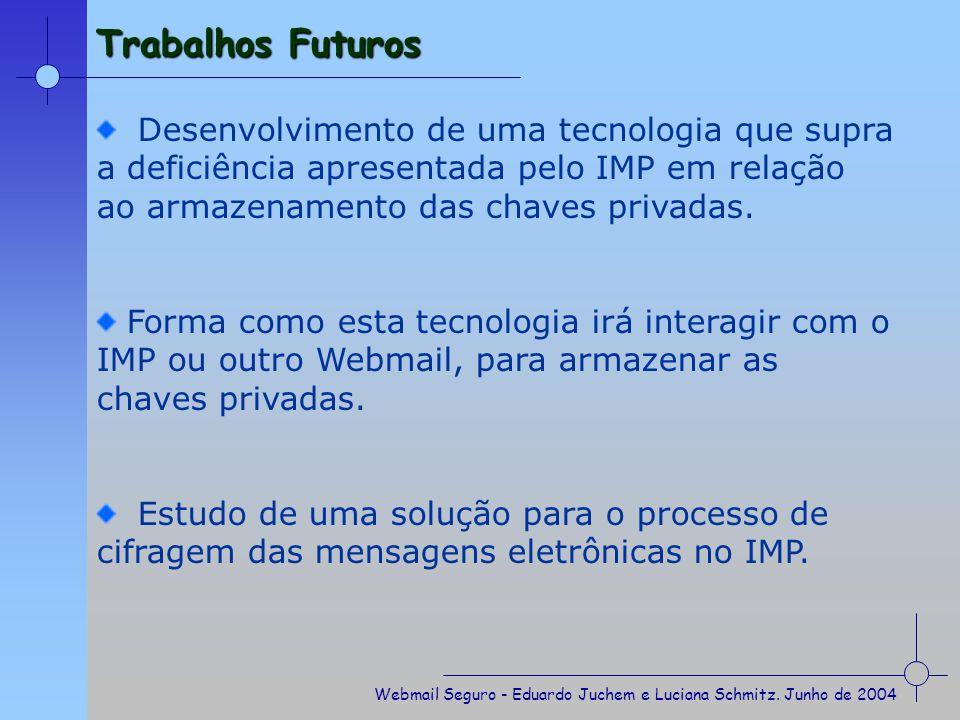Trabalhos Futuros Desenvolvimento de uma tecnologia que supra a deficiência apresentada pelo IMP em relação ao armazenamento das chaves privadas.