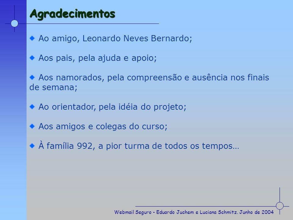 Agradecimentos Ao amigo, Leonardo Neves Bernardo;