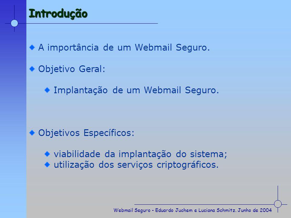 Introdução A importância de um Webmail Seguro. Objetivo Geral: