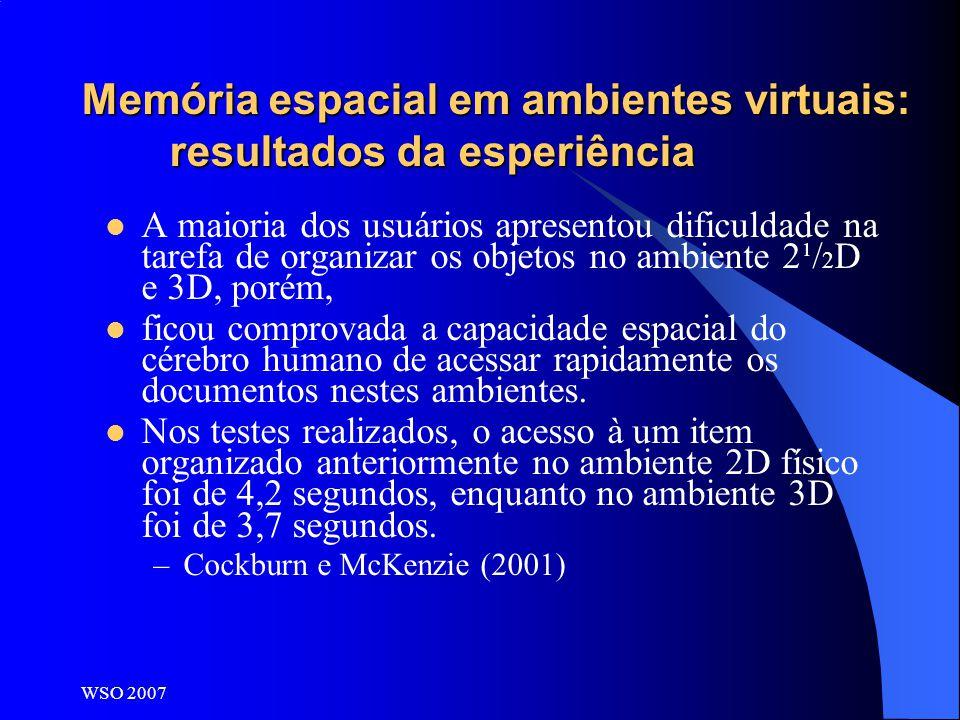 Memória espacial em ambientes virtuais: resultados da esperiência