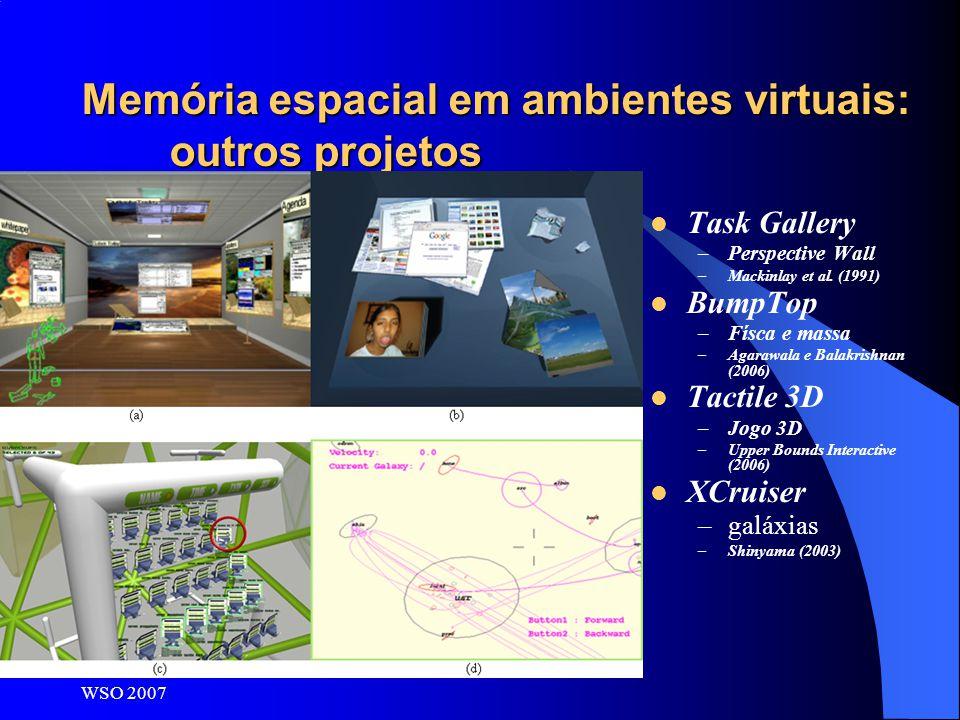 Memória espacial em ambientes virtuais: outros projetos
