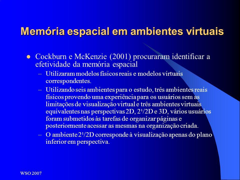 Memória espacial em ambientes virtuais