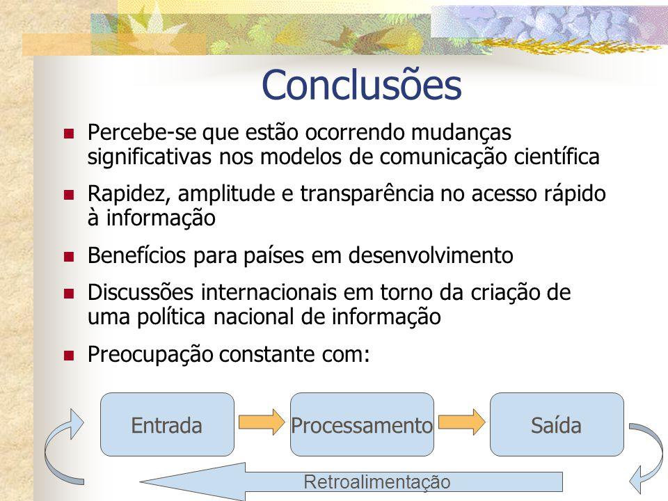 Conclusões Percebe-se que estão ocorrendo mudanças significativas nos modelos de comunicação científica.