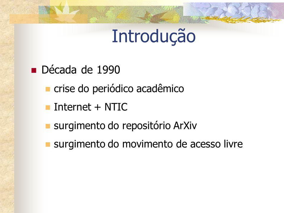 Introdução Década de 1990 crise do periódico acadêmico Internet + NTIC