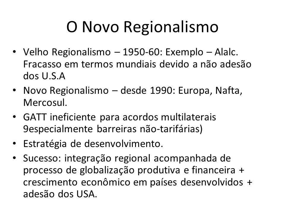O Novo Regionalismo Velho Regionalismo – 1950-60: Exemplo – Alalc. Fracasso em termos mundiais devido a não adesão dos U.S.A.