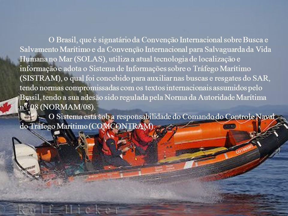 O Brasil, que é signatário da Convenção Internacional sobre Busca e Salvamento Marítimo e da Convenção Internacional para Salvaguarda da Vida Humana no Mar (SOLAS), utiliza a atual tecnologia de localização e informação e adota o Sistema de Informações sobre o Tráfego Marítimo (SISTRAM), o qual foi concebido para auxiliar nas buscas e resgates do SAR, tendo normas compromissadas com os textos internacionais assumidos pelo Brasil, tendo a sua adesão sido regulada pela Norma da Autoridade Marítima nº. 08 (NORMAM/08).