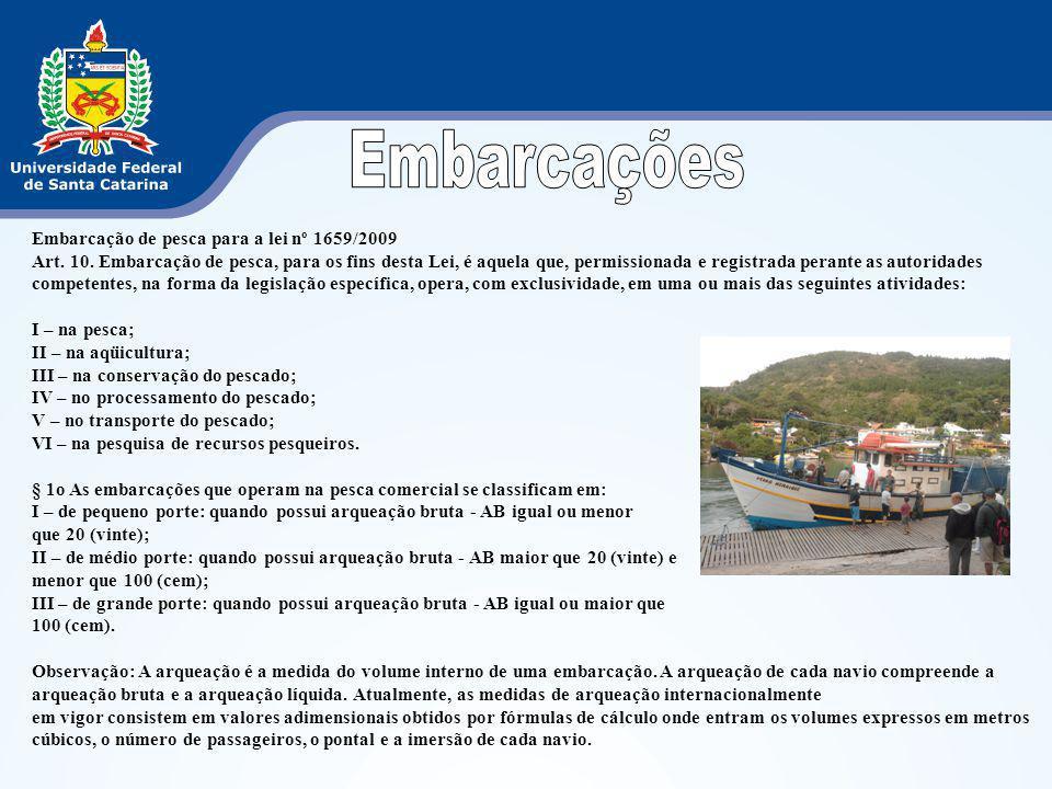 Embarcações Embarcação de pesca para a lei nº 1659/2009