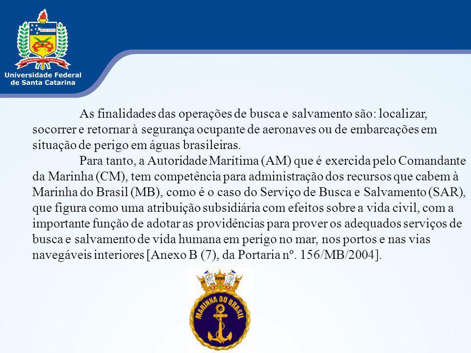 As finalidades das operações de busca e salvamento são: localizar, socorrer e retornar à segurança ocupante de aeronaves ou de embarcações em situação de perigo em águas brasileiras.