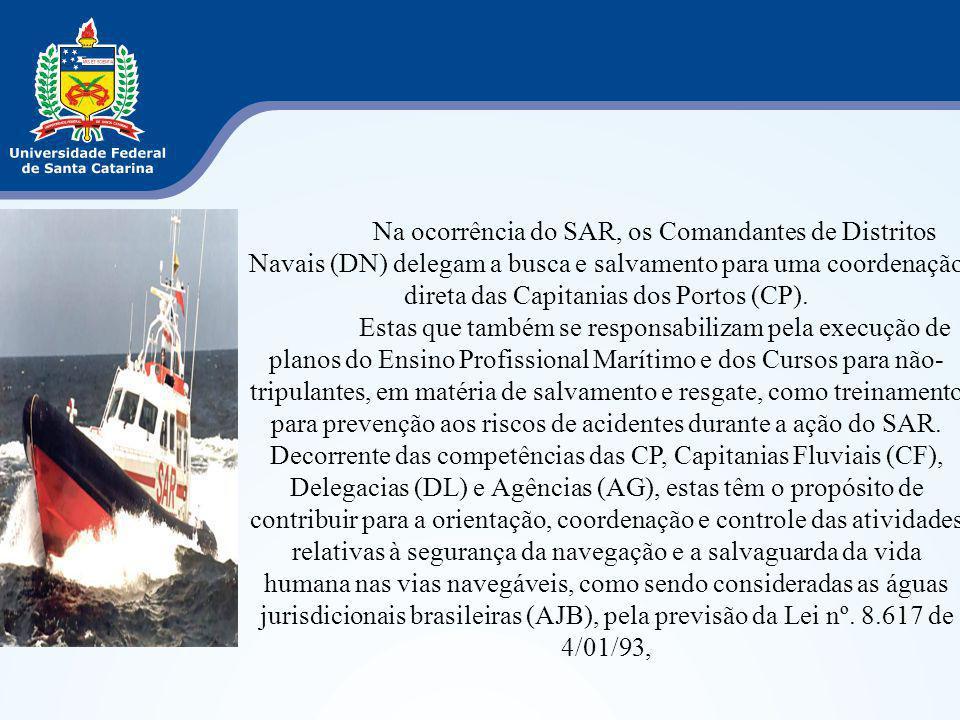 Na ocorrência do SAR, os Comandantes de Distritos Navais (DN) delegam a busca e salvamento para uma coordenação direta das Capitanias dos Portos (CP).
