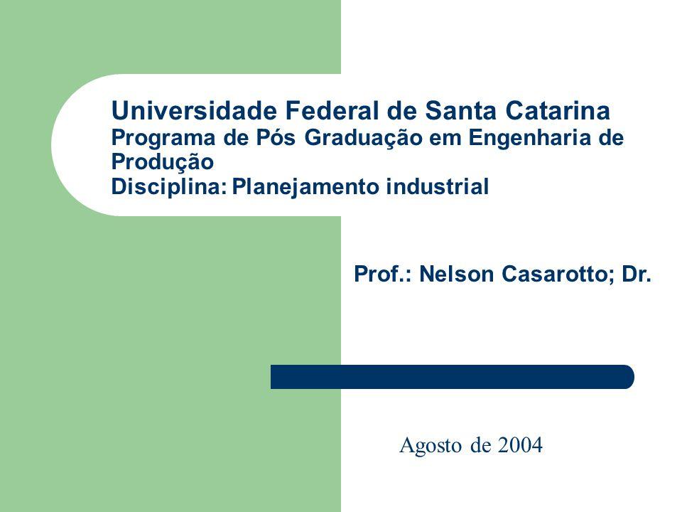Universidade Federal de Santa Catarina Programa de Pós Graduação em Engenharia de Produção Disciplina: Planejamento industrial