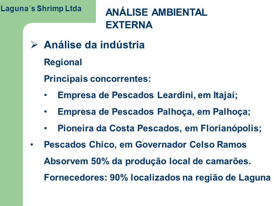 Análise da indústria ANÁLISE AMBIENTAL EXTERNA Regional