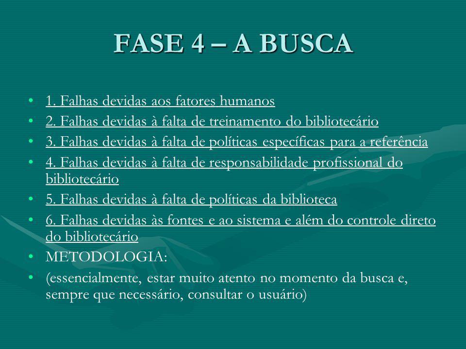 FASE 4 – A BUSCA 1. Falhas devidas aos fatores humanos