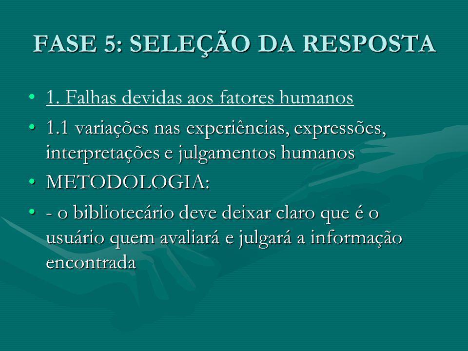 FASE 5: SELEÇÃO DA RESPOSTA