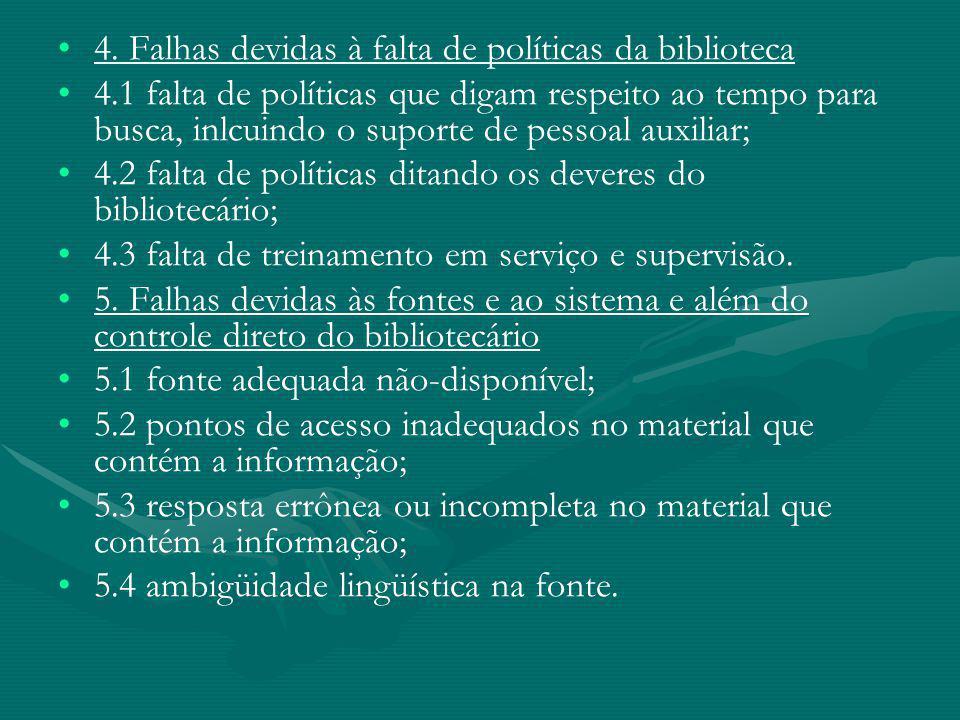 4. Falhas devidas à falta de políticas da biblioteca