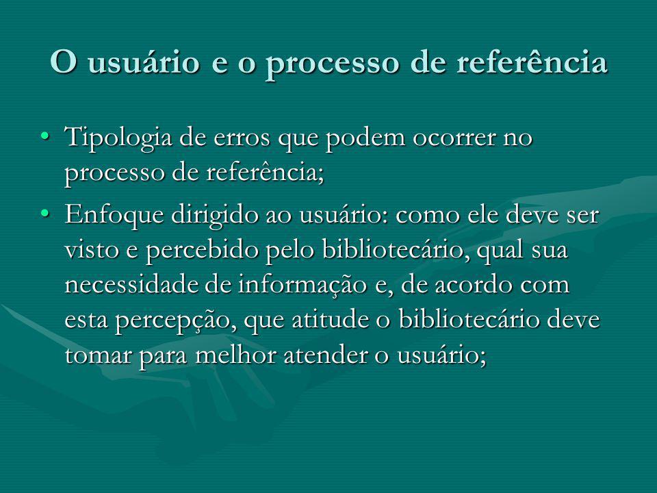 O usuário e o processo de referência