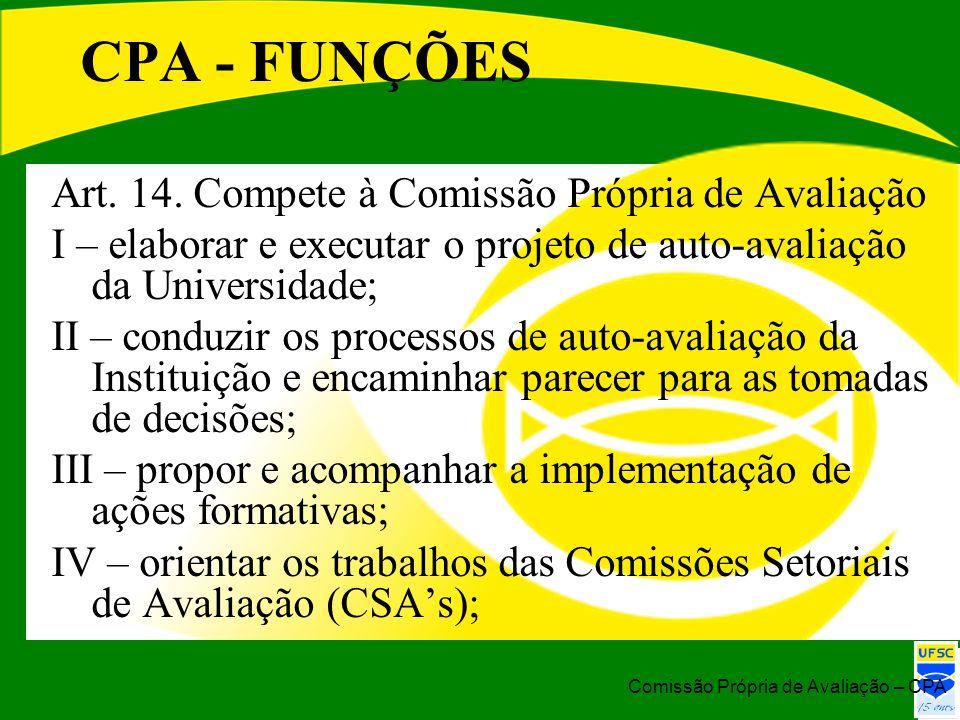 CPA - FUNÇÕES Art. 14. Compete à Comissão Própria de Avaliação