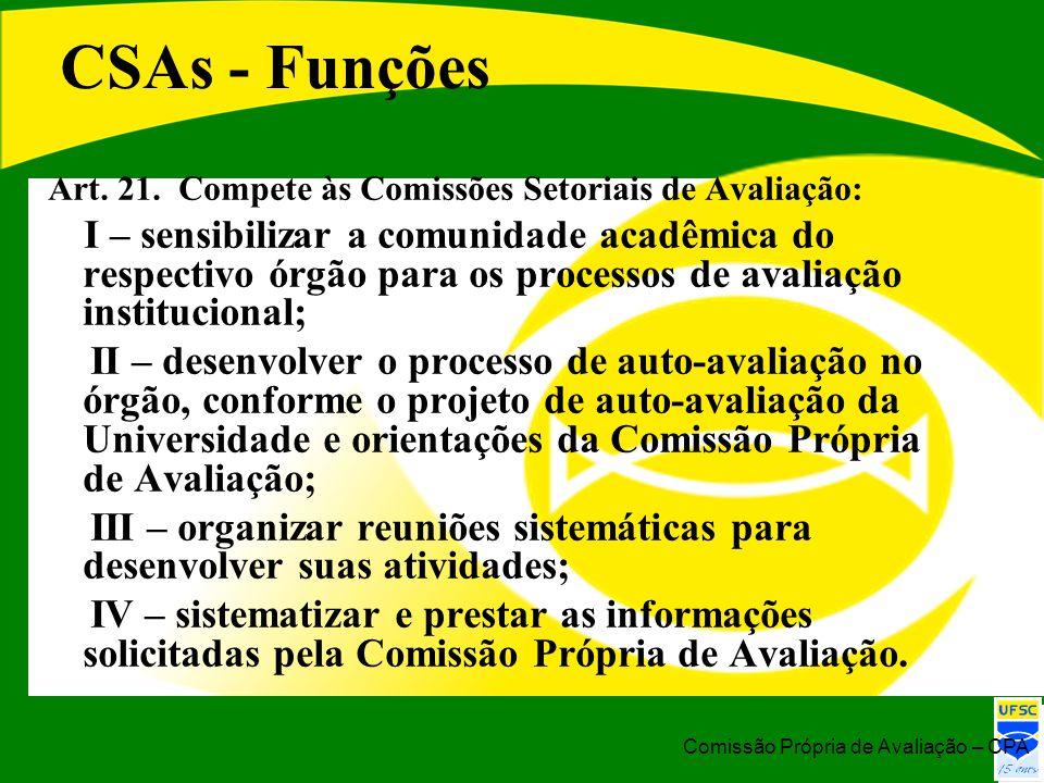 CSAs - Funções Art. 21. Compete às Comissões Setoriais de Avaliação: