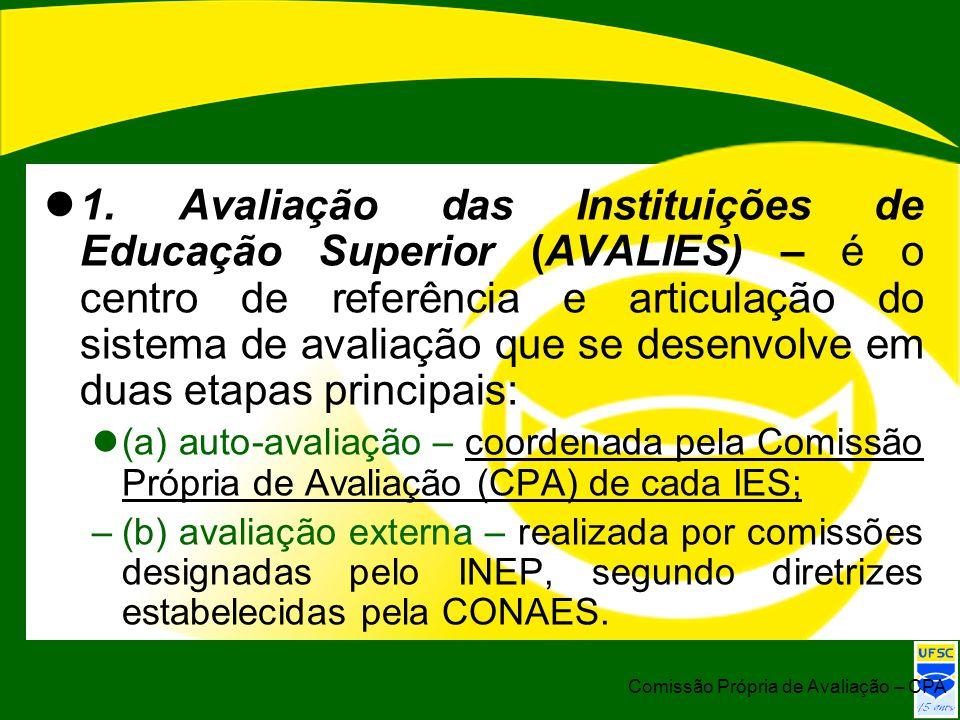 1. Avaliação das Instituições de Educação Superior (AVALIES) – é o centro de referência e articulação do sistema de avaliação que se desenvolve em duas etapas principais: