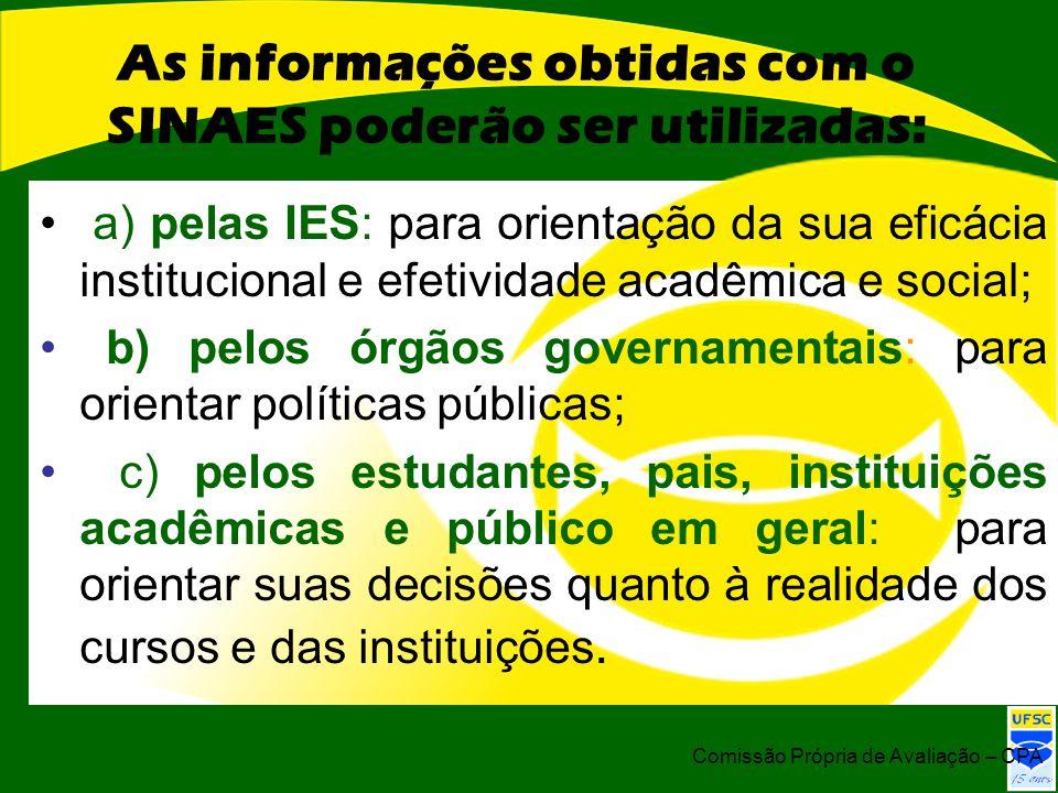 As informações obtidas com o SINAES poderão ser utilizadas: