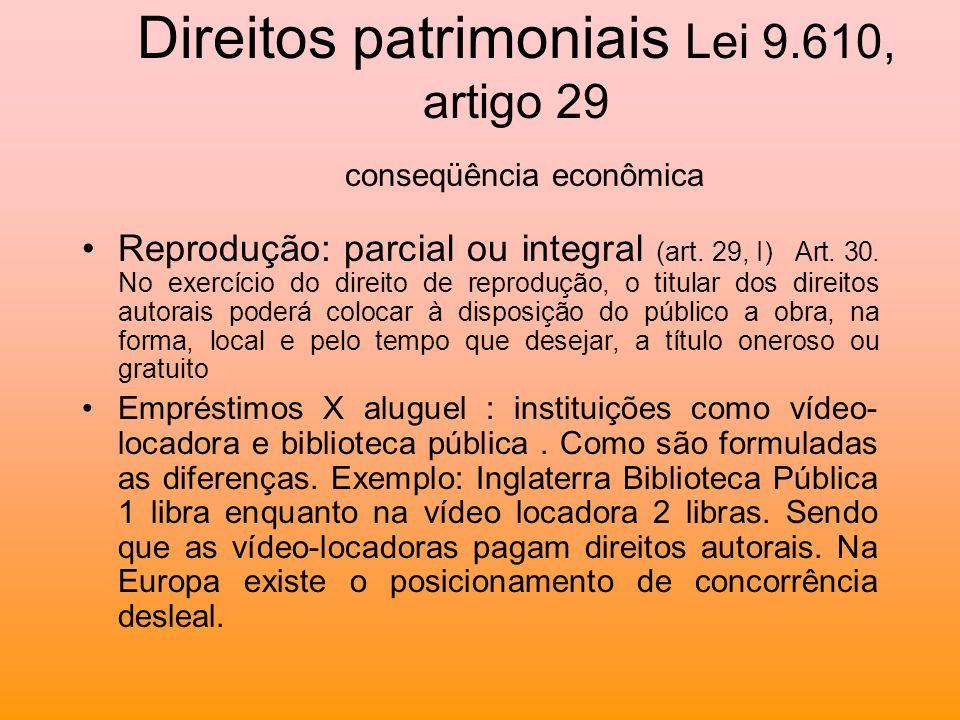 Direitos patrimoniais Lei 9.610, artigo 29 conseqüência econômica