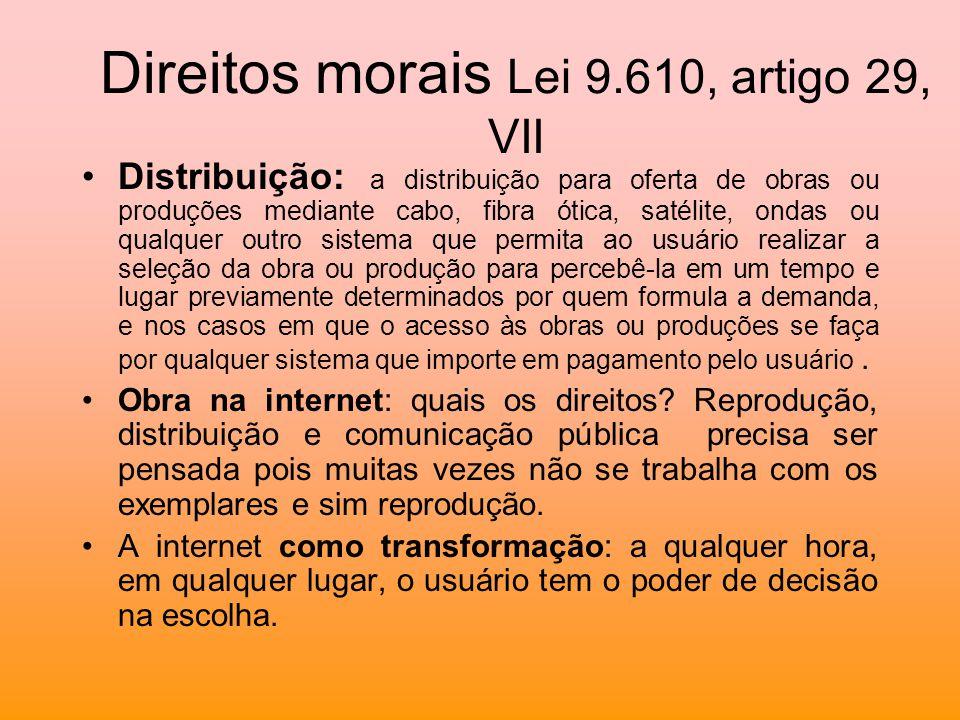 Direitos morais Lei 9.610, artigo 29, VII