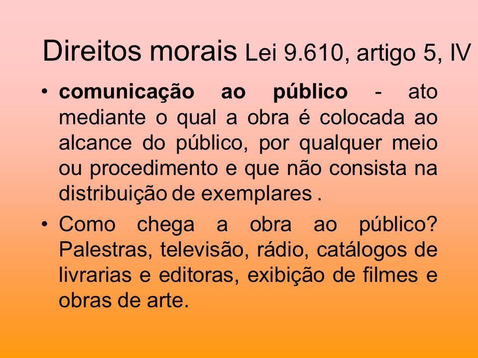 Direitos morais Lei 9.610, artigo 5, IV