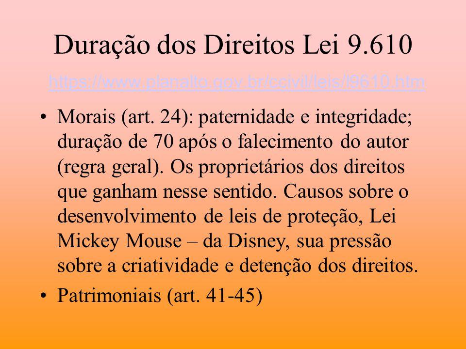 Duração dos Direitos Lei 9. 610 https://www. planalto. gov