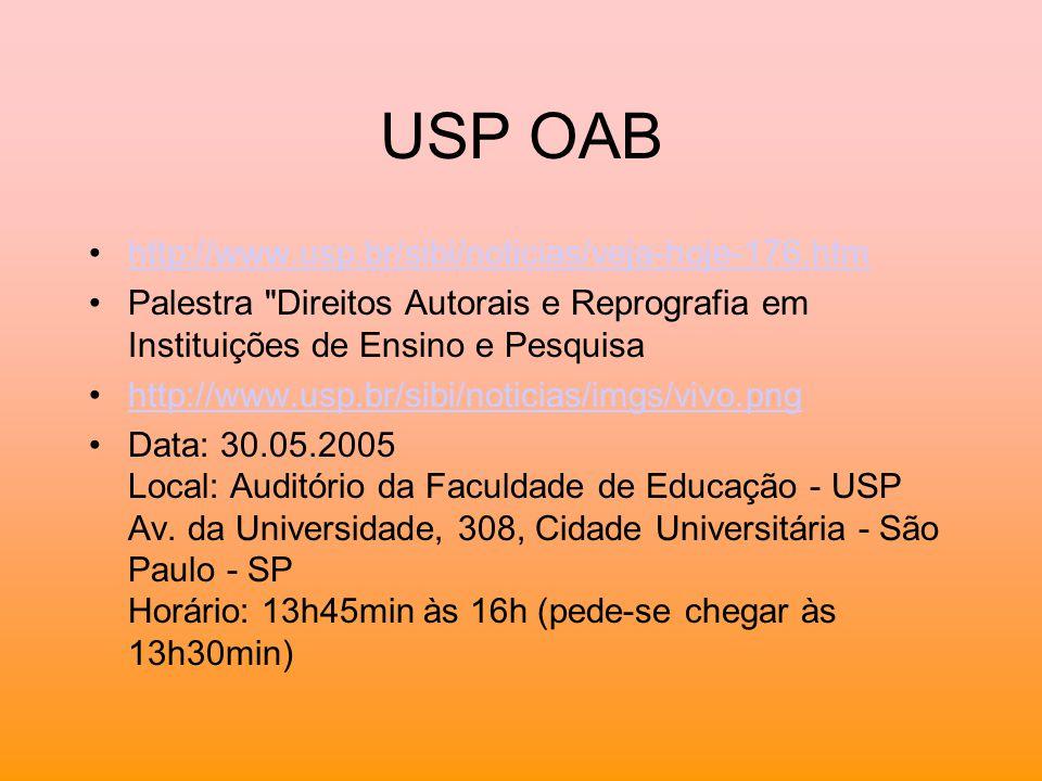 USP OAB http://www.usp.br/sibi/noticias/veja-hoje-176.htm
